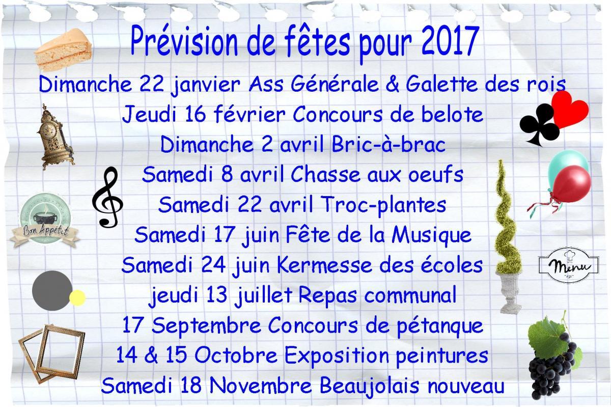 Prevision fetes 2017